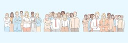 Company staff, business team set concept. Groups of businesspeople, young clerks and managers, standing together. Teamwork, collabortion of business men and women in cartoon style. Simple flat vector
