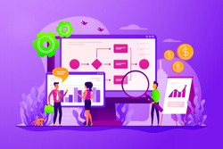 Company strategy. Work organization. Project management. Business process automation, business process workflow, automated business system concept. Vector isolated concept creative illustration