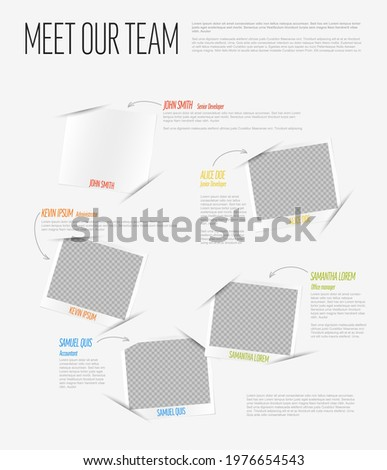 Company team light presentation template with team profile photos placeholders and some sample text about each team member - retro photo team members placeholders with description