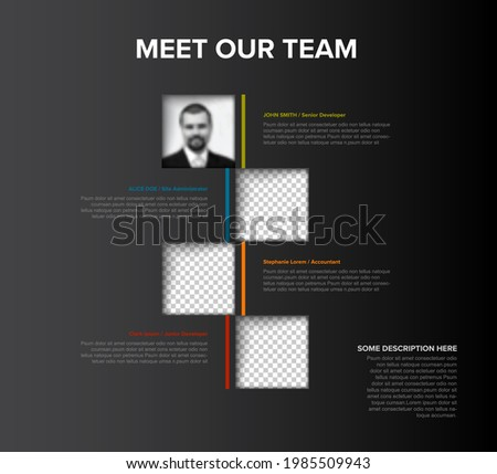 Company team members color mosaic presentation template with team profile photos placeholders and some sample text about each team member - solid dark mosaic version with team photos