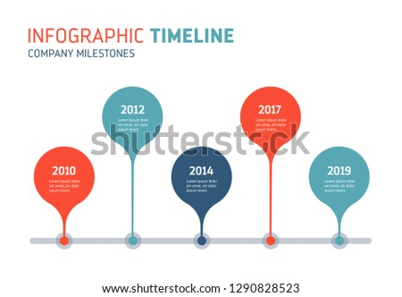 Company timeline - annual diagram. Can be used to show process, progress, history, growth... Vector image.