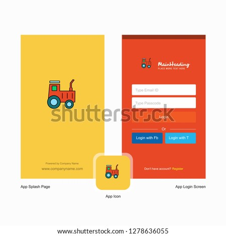 Company Tractor  Splash Screen and Login Page design with Logo template. Mobile Online Business Template