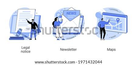 Company website menu abstract concept vector illustrations.