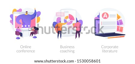 Company workers training icons set. Webinar, presentation. Data analytics course. Online conference, business coaching, corporate literature metaphors. Vector isolated concept metaphor illustrations