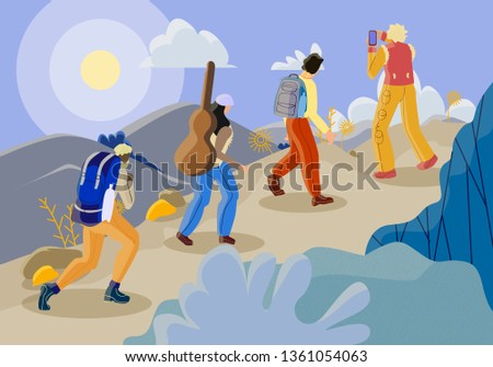Company Young Tourists Climbing by Raw at Mountain Top Admiring Beautiful View. Men and Women with Rucksacks and Guitar Traveling Afoot Making Picture on Smartphone Cartoon Flat Vector Illustration