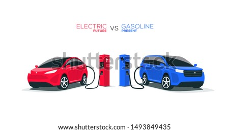 Comparing electric versus gasoline diesel car suv. Electric car charging at charger stand vs. fossil car refueling petrol gas station. Front perspective view. Isolated on white background.