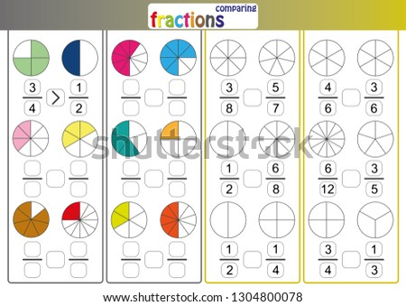 comparing fractions, use > or < compare the fractions, mathematics worksheet