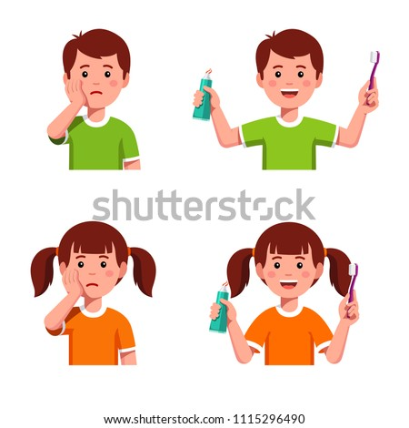 Comparing upset boy & girl having toothache & happy kids using toothbrush and toothpaste. Children dentistry teeth hygiene concept. Kids brushing teeth motivational clipart. Flat vector illustration