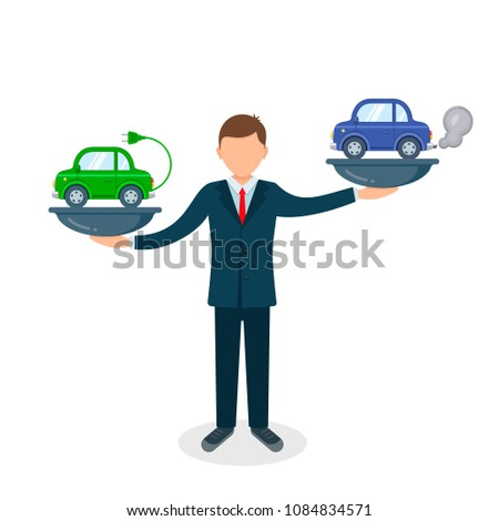 Comparison between electric environmentally friendly and gas polluting car illustration. Electric car versus gasoline and diesel car on scales.