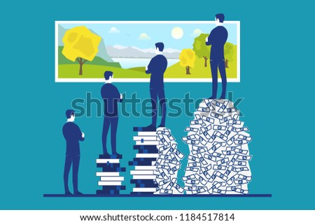 Comparison between people with money, with no money, with education or with education and money on how they assess life and enjoy life and pay attention to surrounding nature concept Stock photo ©