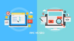 Comparison between PPC and SEO - Concept of Pay per click vs Search engine optimization flat vector banner