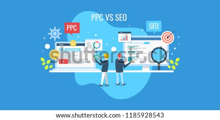 Comparison between SEO and PPC marketing, Digital marketing concept, SEO and PPC flat vector banner #1185928543