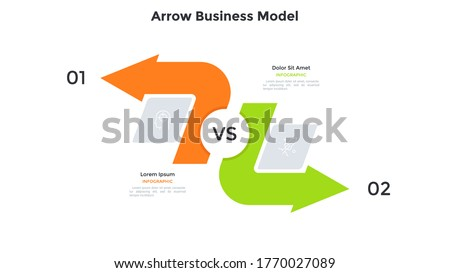 Comparison chart with two arrows pointing in opposite directions. Concept of business model with 2 options to compare. Modern infographic design template. Simple flat vector illustration for banner. Stockfoto ©