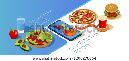 Comparison of healthy food and unhealthy food. Mobile application for counting calories. Seasonal vegetables and fruits, pizza burger and cola. Smartphone with graphs on a white background. Isometric