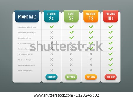 Comparison pricing list. Comparing price or product plan chart compare products business purchase discount hosting image grid. Services cost table unlimited menu planning vector infographics template ストックフォト ©