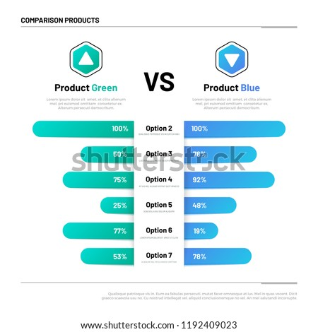 Comparison table. Graphs for product compare. Choosing and comparison content. Vector infographic concept comparison graph, compare chart illustration ストックフォト ©
