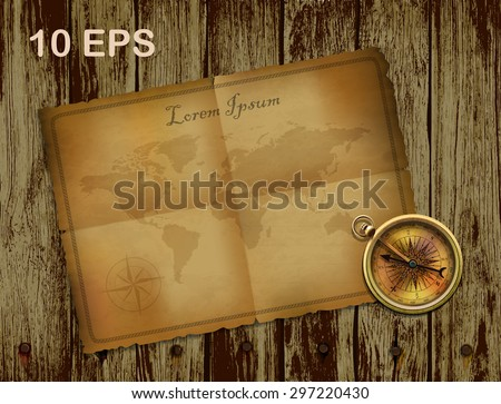 compass and ancient paper on