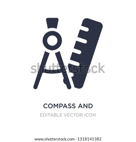compass and ruler for mathematics icon on white background. Simple element illustration from Tools and utensils concept. compass and ruler for mathematics icon symbol design.