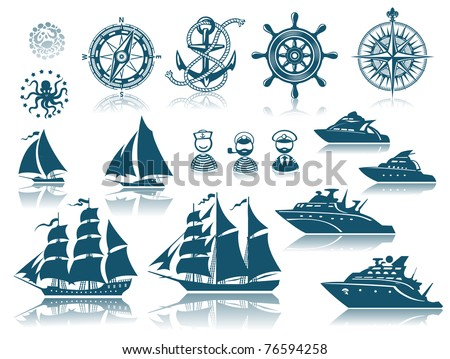compass and sailing ships icon