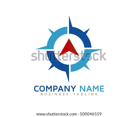Compass Arrow Travel Direction Logo Template