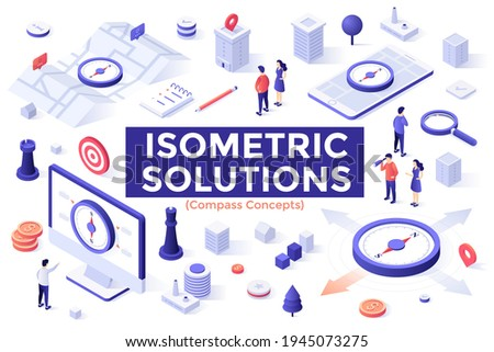 Compass Concepts set - people searching for right direction, using navigation apps for tourism and travel. Bundle of isometric design elements isolated on white background. Modern vector illustration.