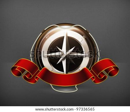 Compass Emblem, vector - stock vector
