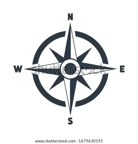 Compass flat icon with North, South, East and West indicated. Navigation vector illustration isolated on white 商業照片 ©