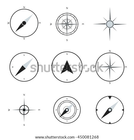 Compass flat icons collection. Navigation icons set. Compass art. Compass image. Compass set. Vector compasses. Compass icon design. Compass icon shape. Compass icon sign.