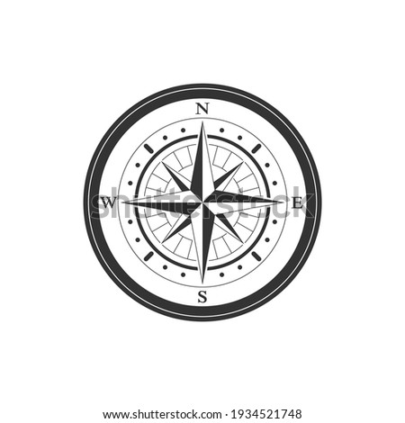 Compass graphic icon. Wind rose sign. Compass vintage symbol isolated on white background. Vector illustration