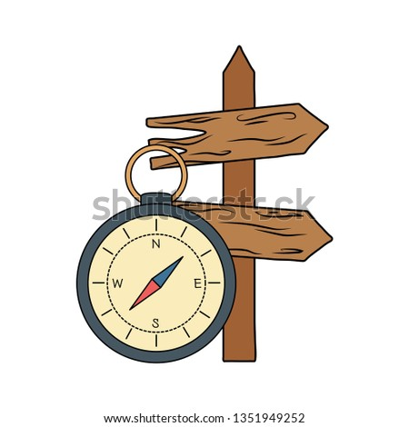 compass guide with guide wooden arrow