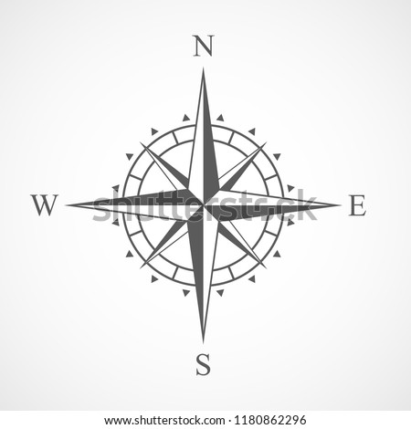 Compass icon in flat design. Vector illustration. Compass icon, isolated on light background