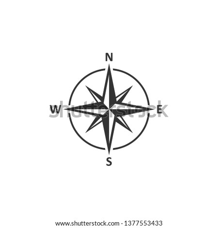 Compass icon in simple design. Vector illustration