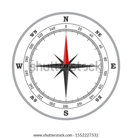 Compass icon - vector. Compass icon in flat style. Compass navigation icon. Compass rose, wind rose.