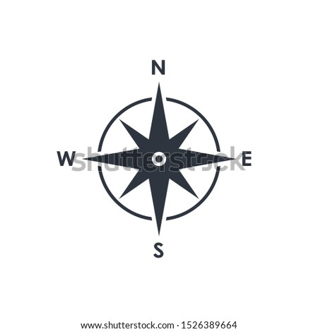 Compass icon. Wind rose sign. Compass symbol isolated on white background. Vector illustration