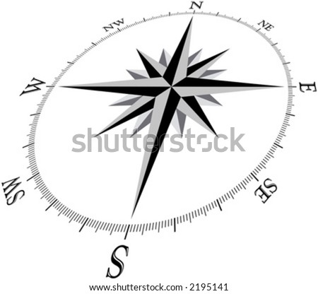 Compass Illustration, in 3d perspective.