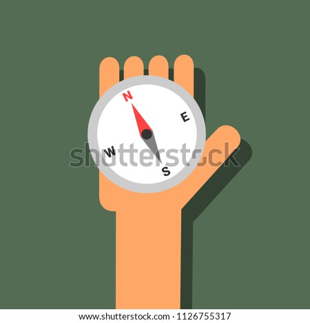Compass - instrument and device for navigation and orientation. Caucasian hand is holding tool. Vector illustration.