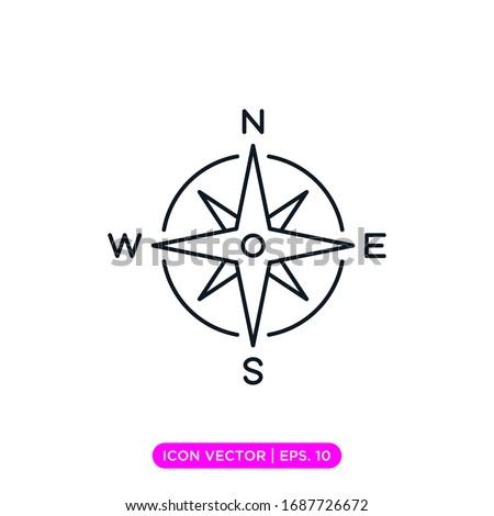 Compass line icon vector design