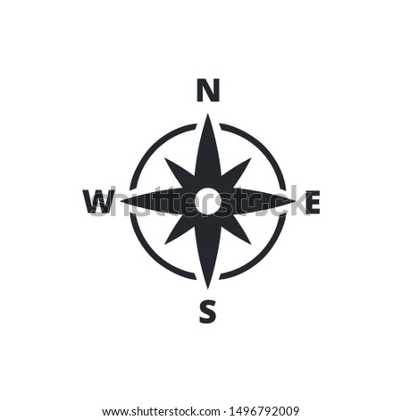 Compass Line Icon Vector Illustration. Isolated flat compass. Topography or sea navigation concept. Wind rose. Navigation, transportation logo. Logistics logo concept. Tool for travel, tourism