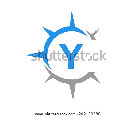 Compass logo design with Y letter concept. Compass Concept with Y letter typography  Zdjęcia stock ©