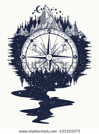 Compass, mountains, river of stars flows tattoo. Mountain antique compass and wind rose. Adventure, travel, outdoors, symbol
