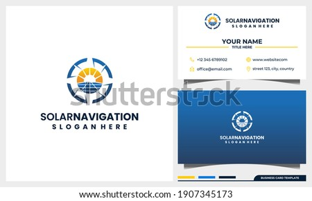 compass navigation with solar panel energy logo design concept and business card template Foto stock ©