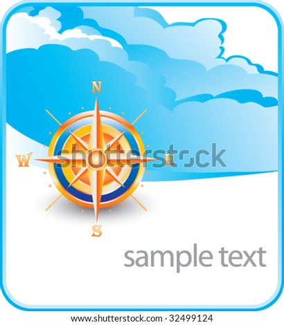 compass on cloud banner