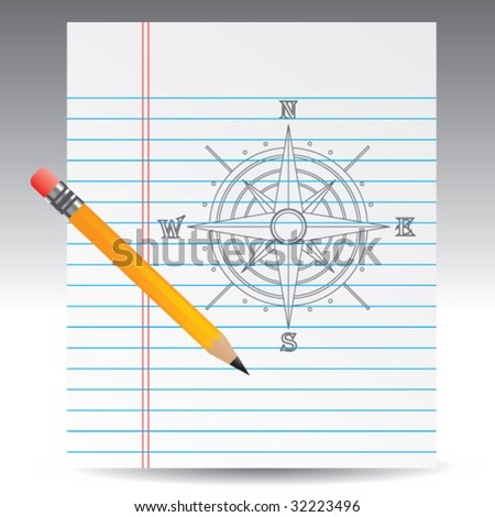 compass on notebook paper with pencil