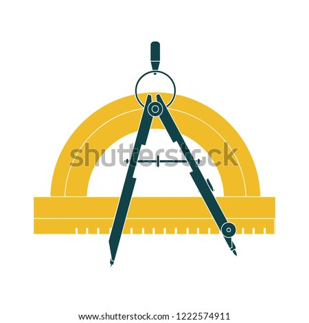 compass protractor icon - compass symbol. drawing tools illustration, geometry measurement sign education
