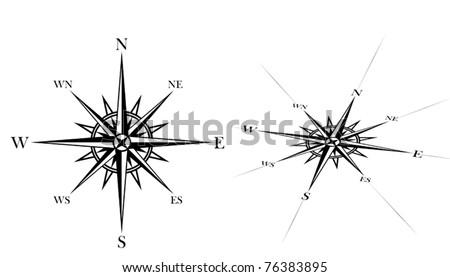 compass rose set - stock vector