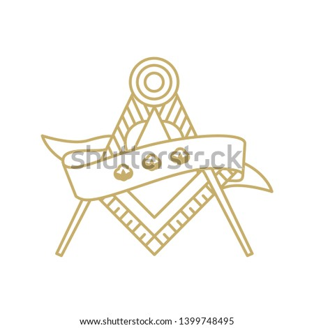 Compass ruler and ribbon vector art