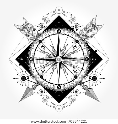 compass tattoo and t shirt