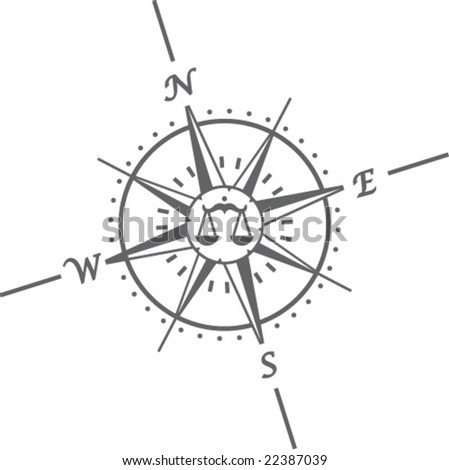 compass vector libra inside balance sign