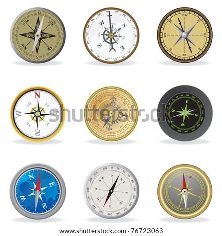 Compass. Vector set