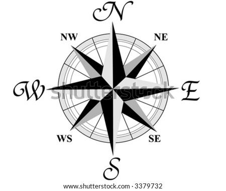 Compass wind rose - 8 directions of the world - vector